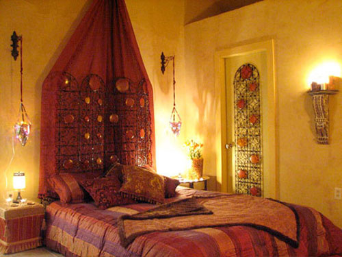 Ethnic Maroon Bedroom Design