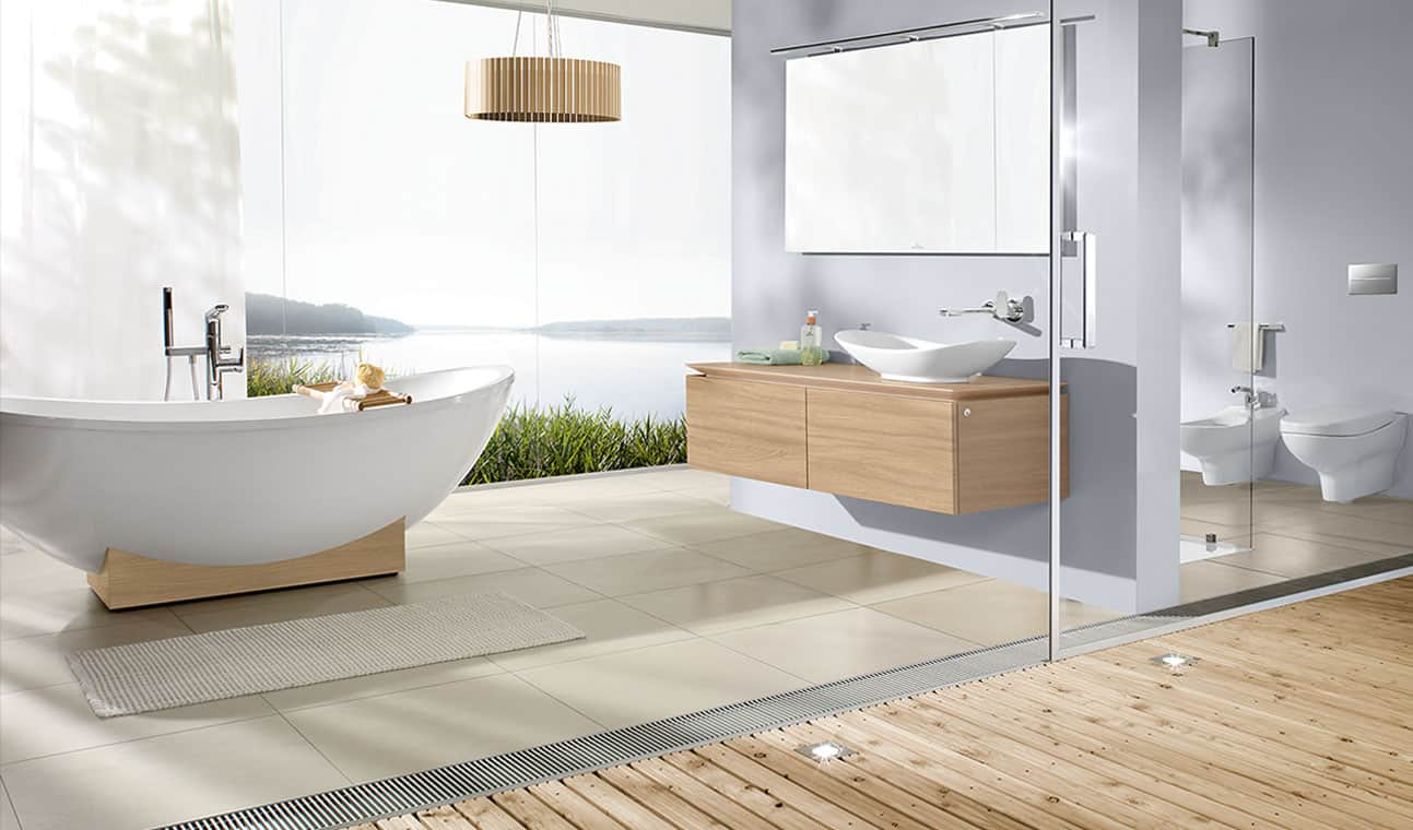 Bathroom designs with glass wall