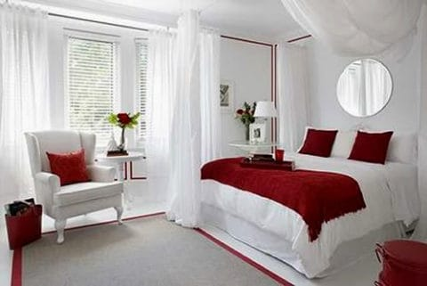 Maroon white romantic bedroom ideas