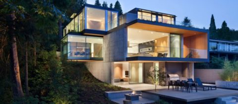 Modern house with glass wall