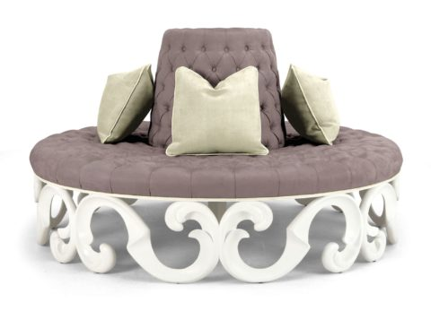 classical round sofa with velvet material
