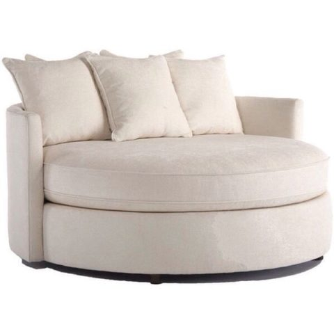 off white modern round sofa with comfortable material
