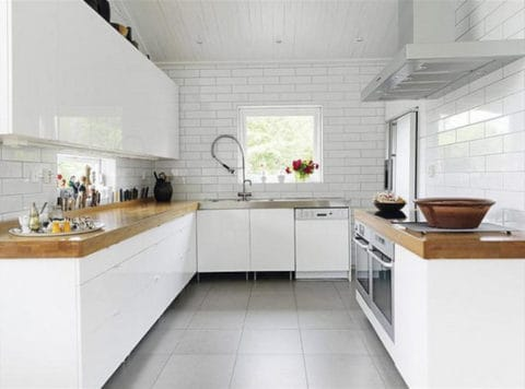 Minimalist kitchen with stylish tiles