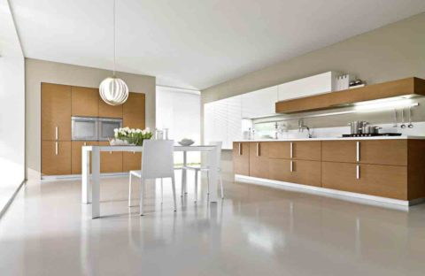 Minimalist kitchen with wooden furniture
