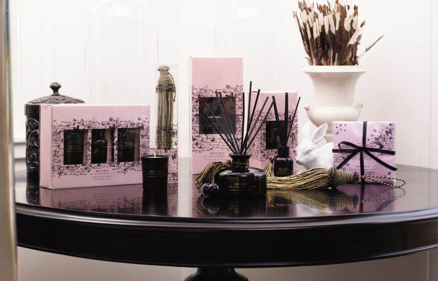 pink and black House Fragrance bottles