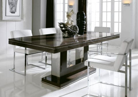 contemporary dining table with metal frame