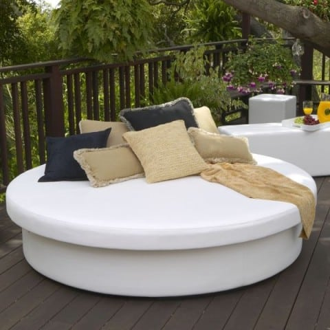 off white outdoor daybed with matching cushion