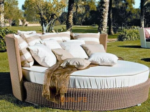outdoor daybed with rattan material