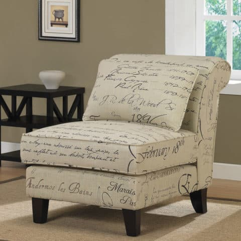 slipper chair with innovative quote