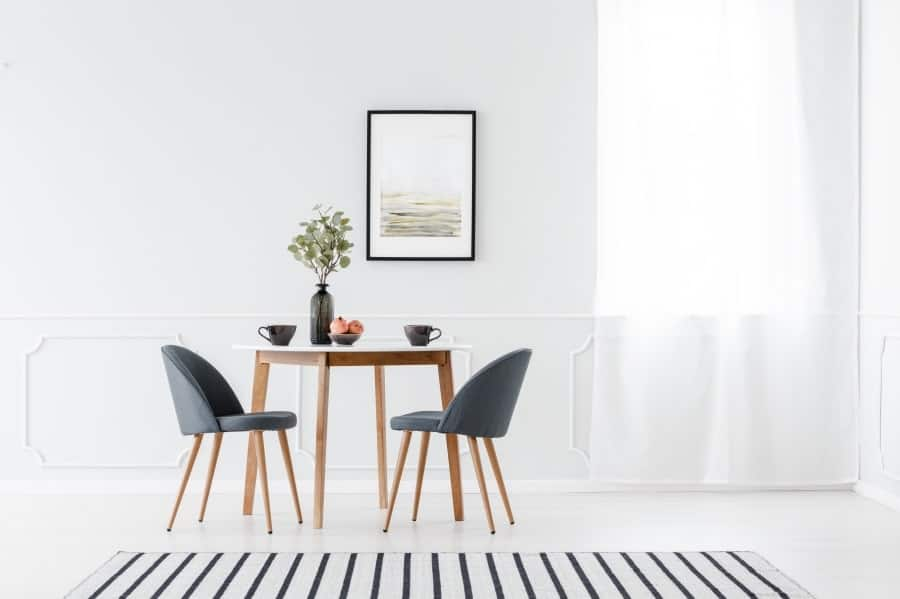 Small dining table in living room
