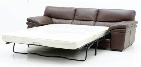 sofa bed with leather cover