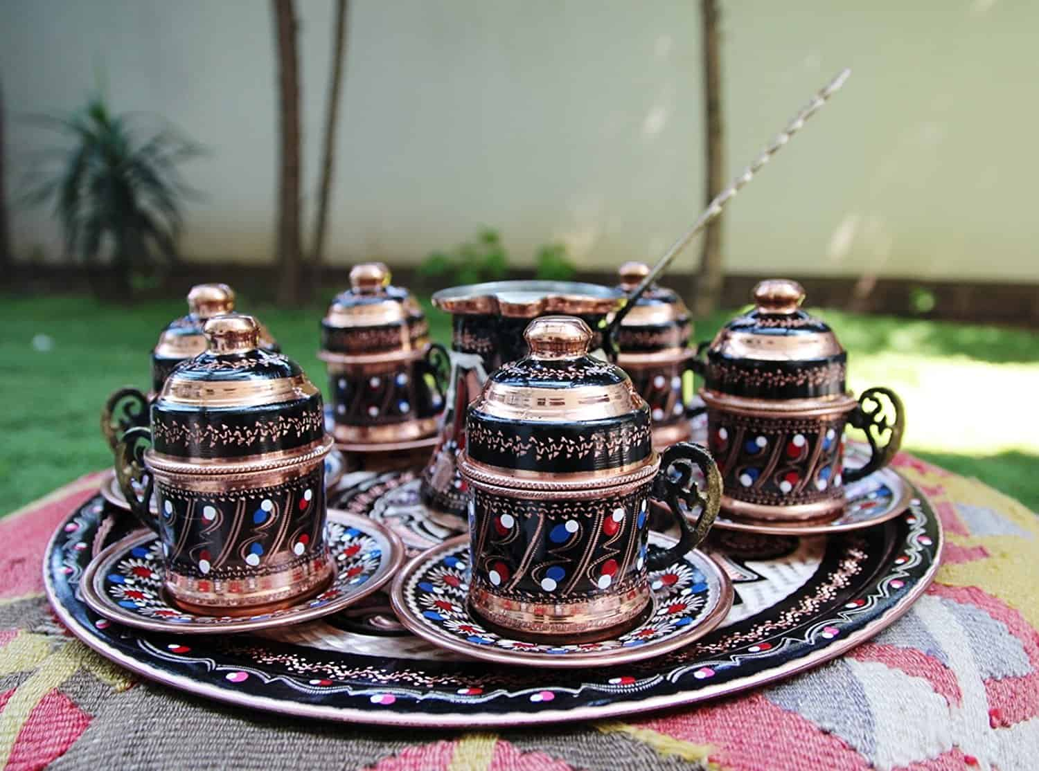 Copper turkish coffee set for six