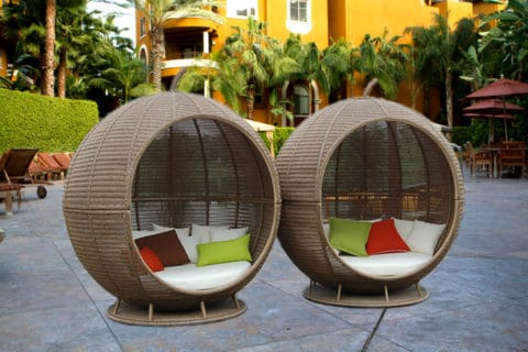 outdoor furnitue with faux wicker rattan material