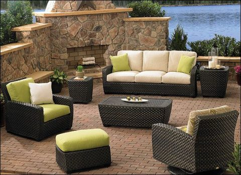 outdoor furniture with matching fireplace