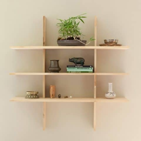 wall shelves with natural wooden color