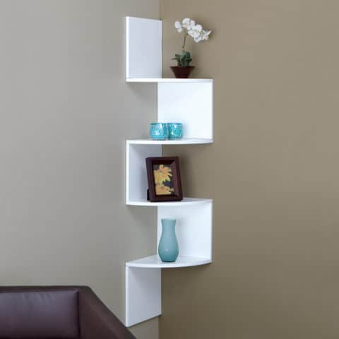 white corner wall shelves for small space