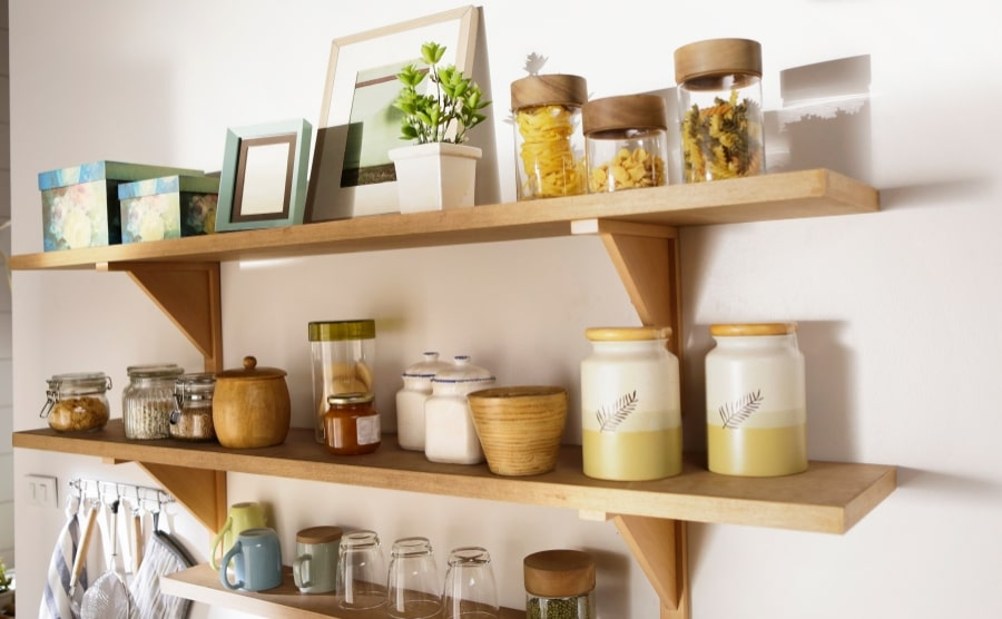 Wooden wall shelves