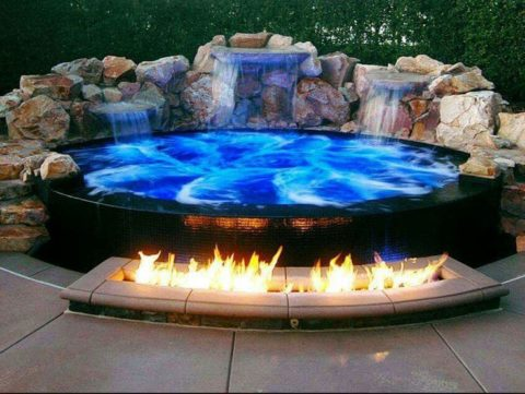 Best hot tub design with fireplace
