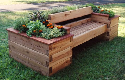 Raised garden beds with chair model