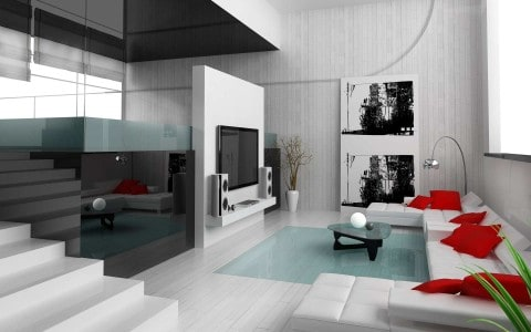 off white living room with modern concept