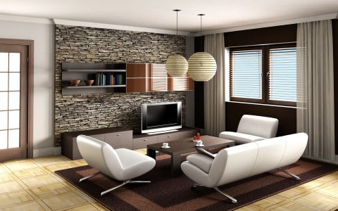 contemporary living room with comfortable decorating