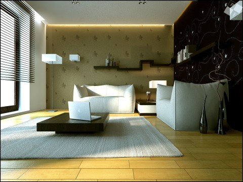 Smart living room with white sofa