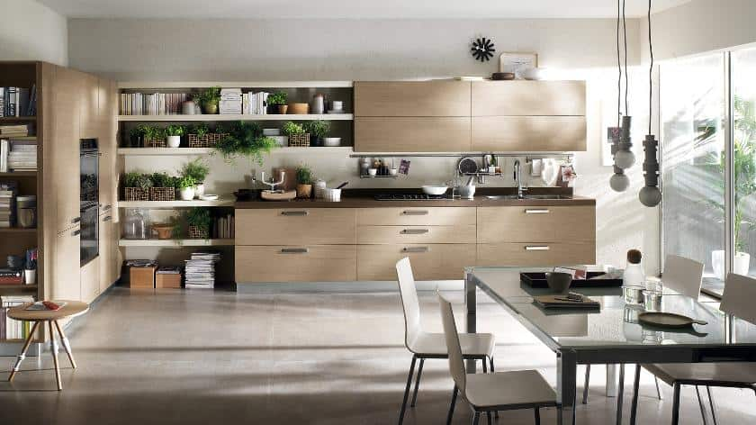 Contemporary kitchen with dining room combine