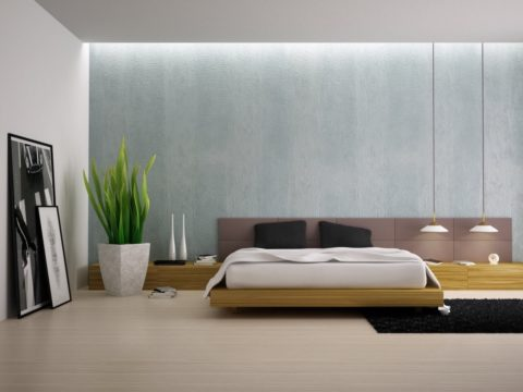 Minimalist bedroom with fresh colors