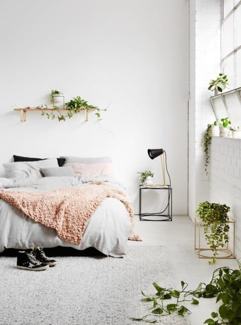 Minimalist bedroom with nature concept