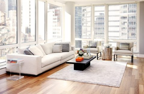 Minimalist living room with wide window