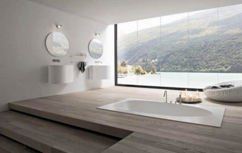 Minimalist bathroom with awesome scenery