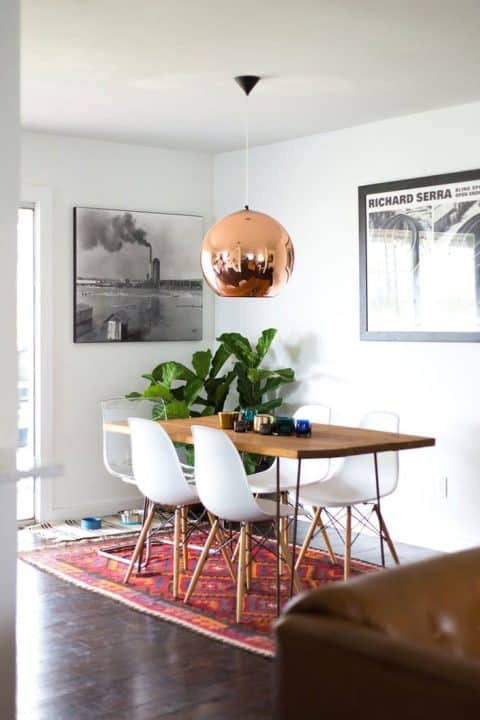 Small dining room with unique lighting
