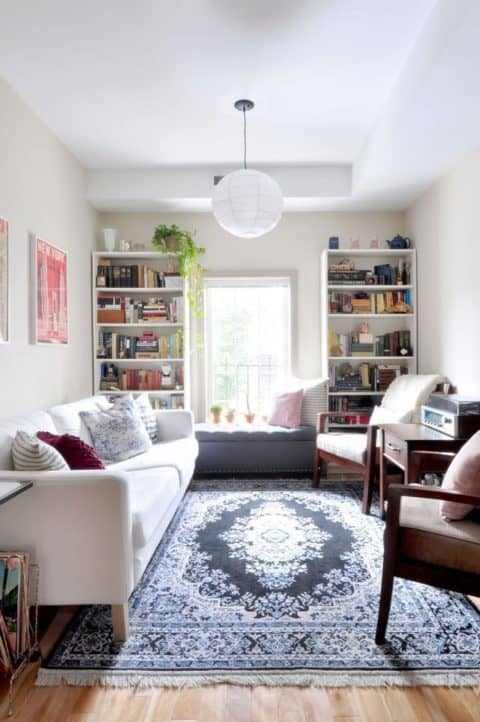 Apartment living room with white sofa