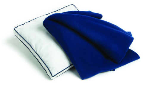 blue white Pillow and Blanket