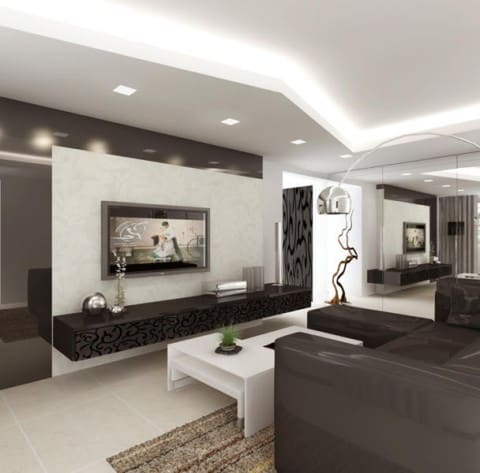 TV Console for black and white room