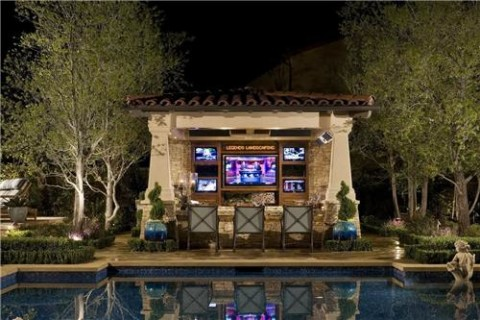 Outdoor bar beside pool