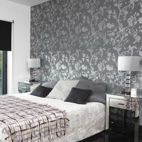 Bedroom Wallpaper with grey and silver combination