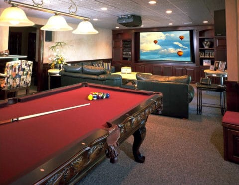 game room with classic bilyard table