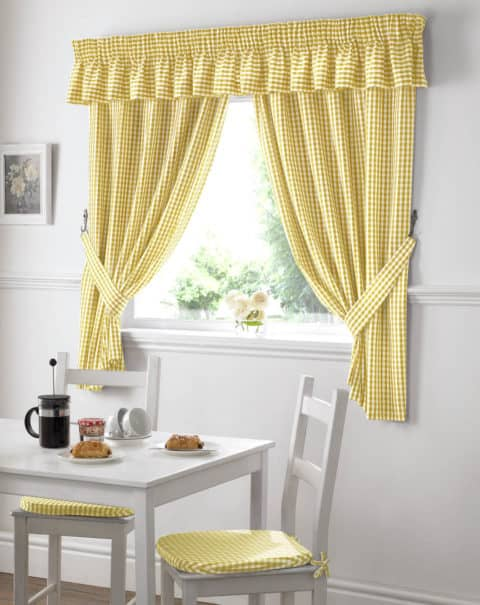 kitchen curtains with matching chair