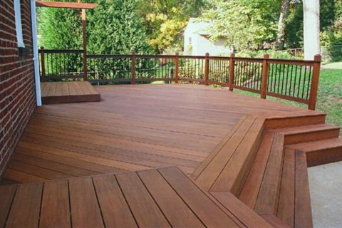 hallway deck with wood railing