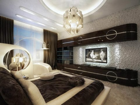 Comfortable bedroom interior design with television