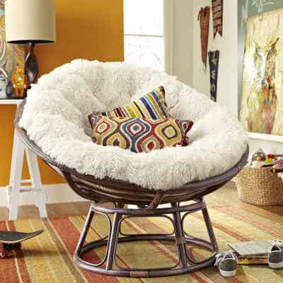 Papasan chair with matching cushions
