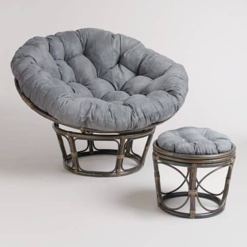 Papasan chair with matching stools
