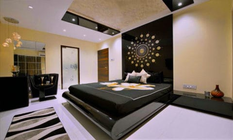 Bedroom interior design with awesome wall art