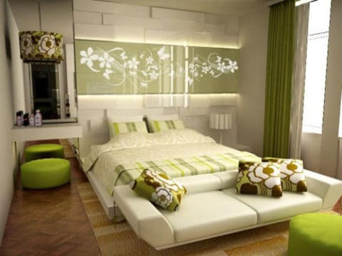 Bedroom interior design with fresh color