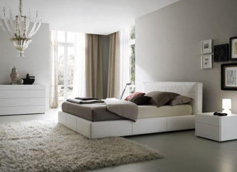 Bedroom interior design with matching rugs