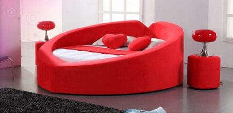 Heart shaped bed in red white color