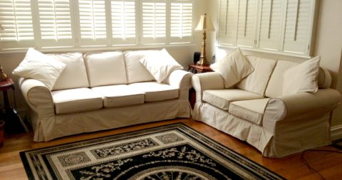 White leather couch covers for living room