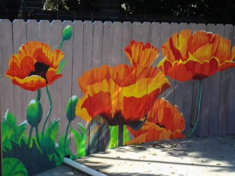 Fence with flower painting