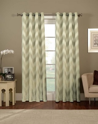 Chevron curtain panels in soft color